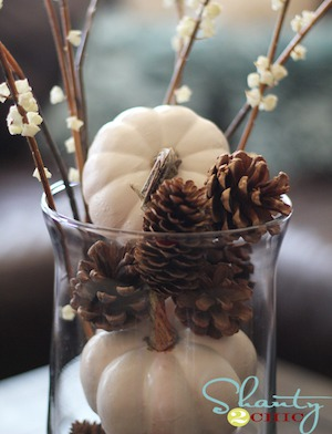 White Pumpkins & Pinecones Vase