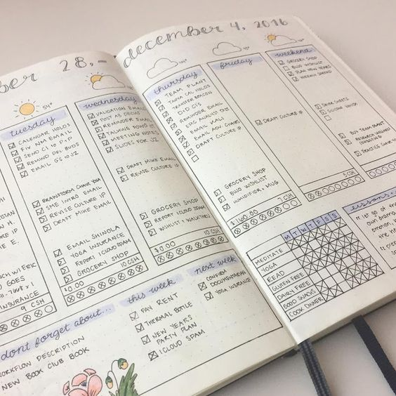 bujo weekly layout