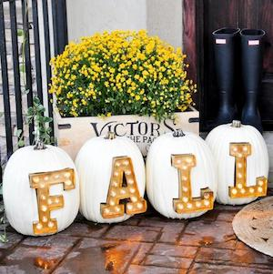DIY Marquee Light Letter Pumpkins