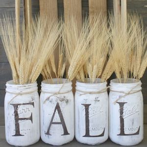 Rustic Fall Mason Jars Centerpiece