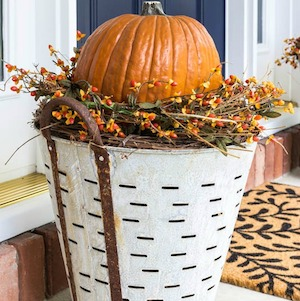 Fall Olive Bucket Pumpkin Planter