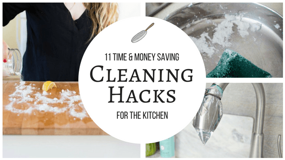 These 11 kitchen cleaning hacks and tips are THE BEST! I'm so happy I found these AWESOME tips! Such great life hacks for keeping things clean! Definitely pinning!