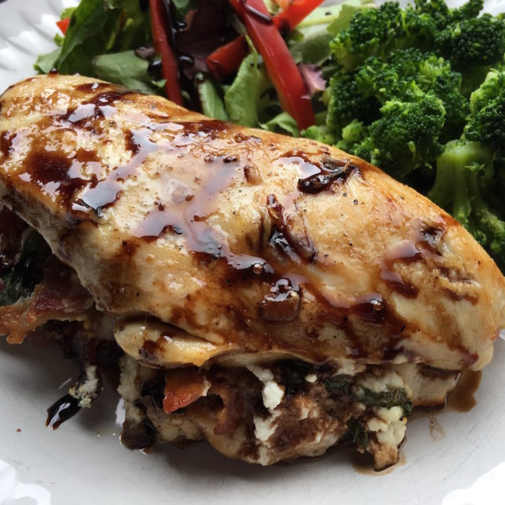 Keto Balsamic Glazed Bacon Stuffed Chicken Breasts