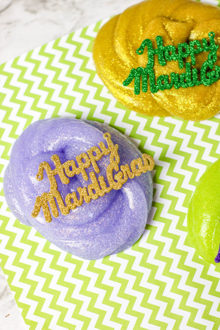 DIY Colorful Mardi Gras Slime in Gold, Green and Purple 8