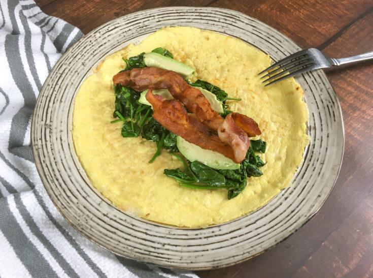 Keto Egg Wraps with Spinach, Avocado, & Bacon 1