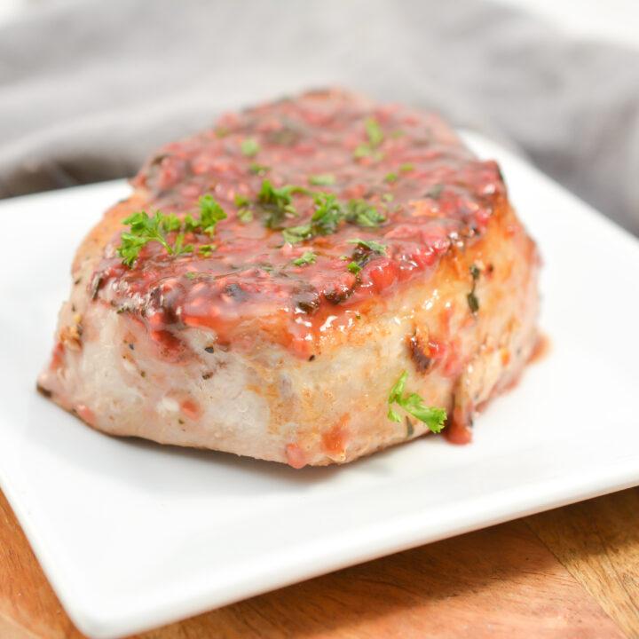 Keto Raspberry Basil Glazed Pork Chops