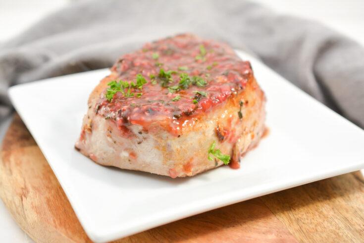Keto Raspberry Basil Glazed Pork Chops 2