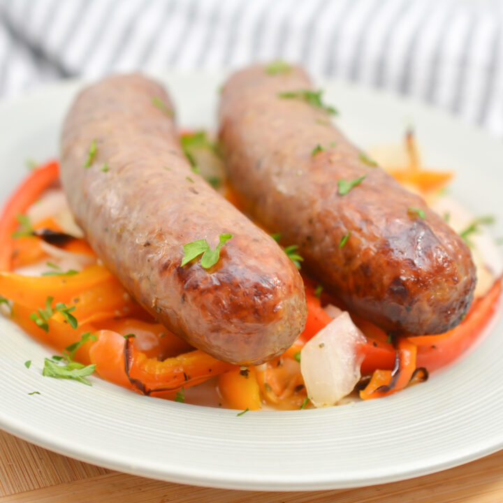 Air Fryer Sausage, Peppers and Onions